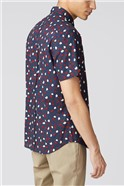 Navy Script Short Sleeved Feather Print Shirt