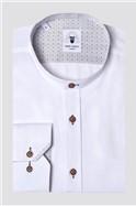 Archie White Grandad Collar Classic Fit Shirt