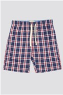 Navy New Cas Checked Lounge Short