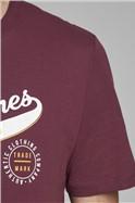 JACK & JONES  Burgundy Logo Print T-Shirt