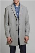 JACK & JONES Grey Wool Blend Overcoat