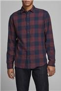 JACK & JONES Burgundy Checked Shirt
