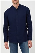 Navy Long Sleeve Slub Grandad Shirt