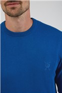 Plain Bright Blue Crew Neck Knitted Jumper