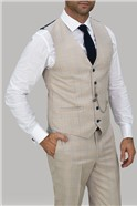 Cream Checked Waistcoat