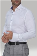 White Cotton Slim Fit Long Sleeve Dress Shirt