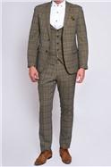 Enzo Tan Check Three Piece Suit