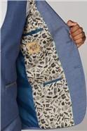 Blue Textured Slim Fit Two Piece Suit