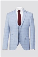 Pale Blue With Raspberry Over Check Suit
