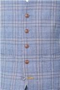 Light Blue Tweed Check Waistcoat
