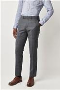 Blue Textured Slim Fit Suit Trousers