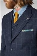 Navy and Grey Windowpane Check Waistcoat