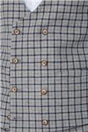 Grey, Navy and Brown Check Waistcoat