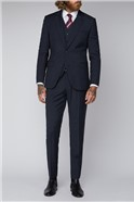 Blue Checked Tailored Fit Suit