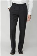 Charcoal Birdseye Pleated Suit Trousers