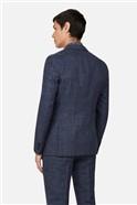 Linen Navy Check Slim Suit