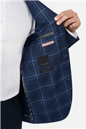 Bright Blue Check Skinny Suit