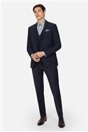 Navy Panama Regular Suit Trousers
