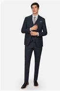 Navy Tan Check Slim Fit Waistcoat