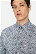 Monochrome Floral Print Slim Fit Shirt