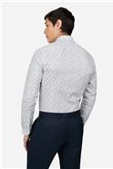 Pale Blue Floral Print Slim Fit Shirt
