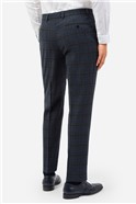 Teal Check Suit Trousers