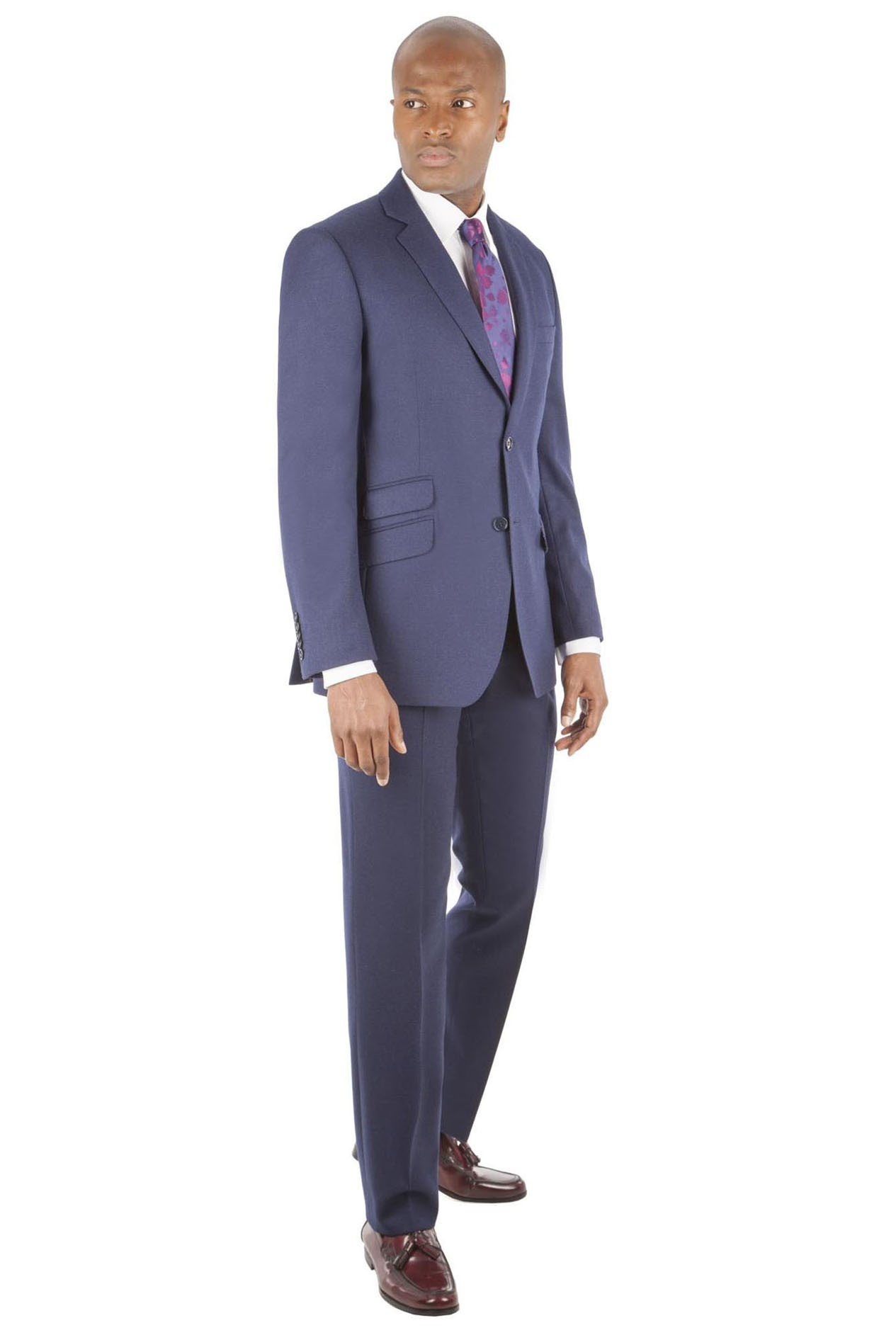Alexandre of England Deep Blue Flannel Tailored Fit Suit
