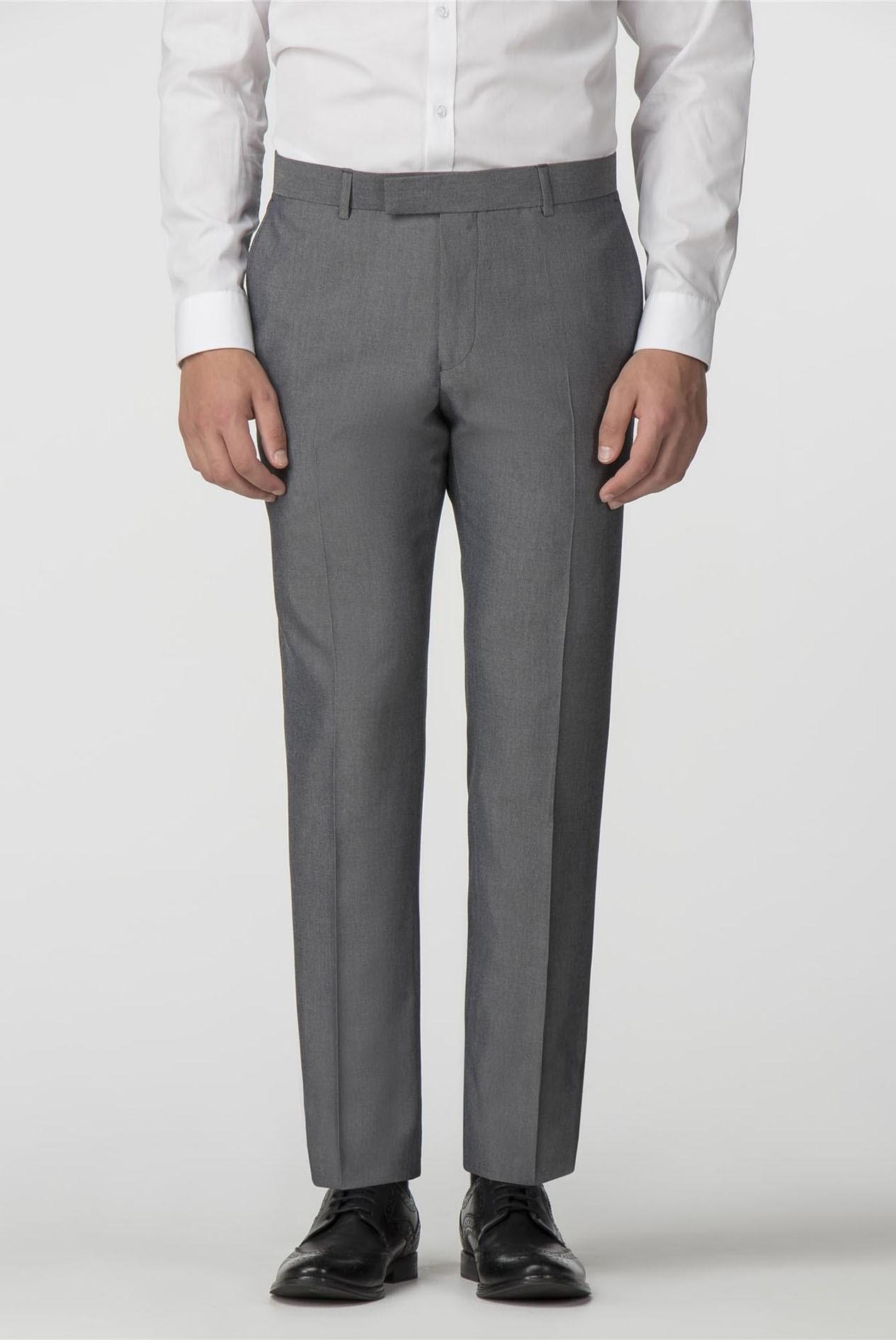 Mens Limehaus Plain Silver Grey Tonic Slim Fit Trousers