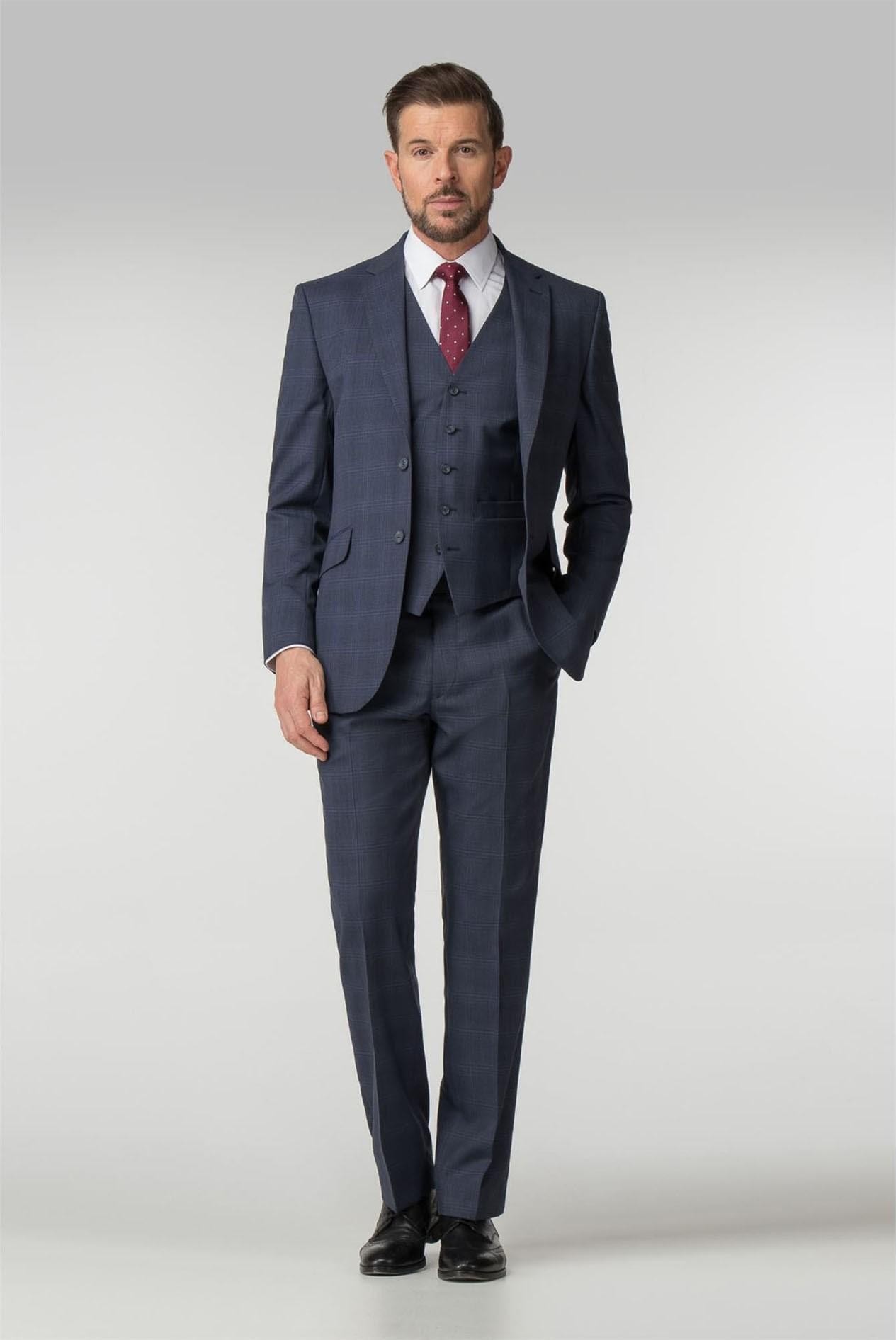 Men/'s Pierre Cardin Suit Tailored Fit Wool Blend Brown