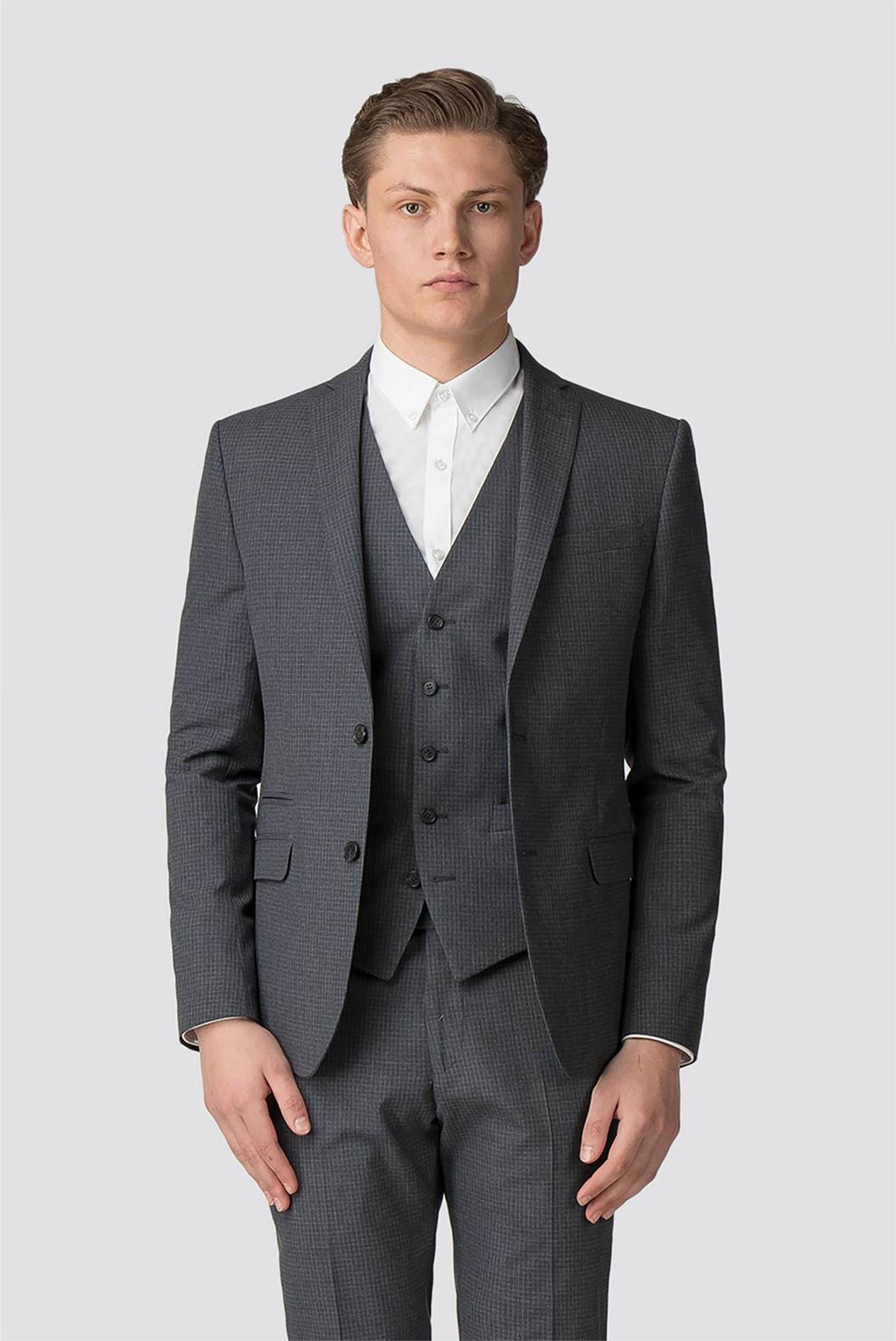 Mens  Marc Darcy 3//2 Piece Suit Blazer Waistcoat Trousers Slim Pinstripe