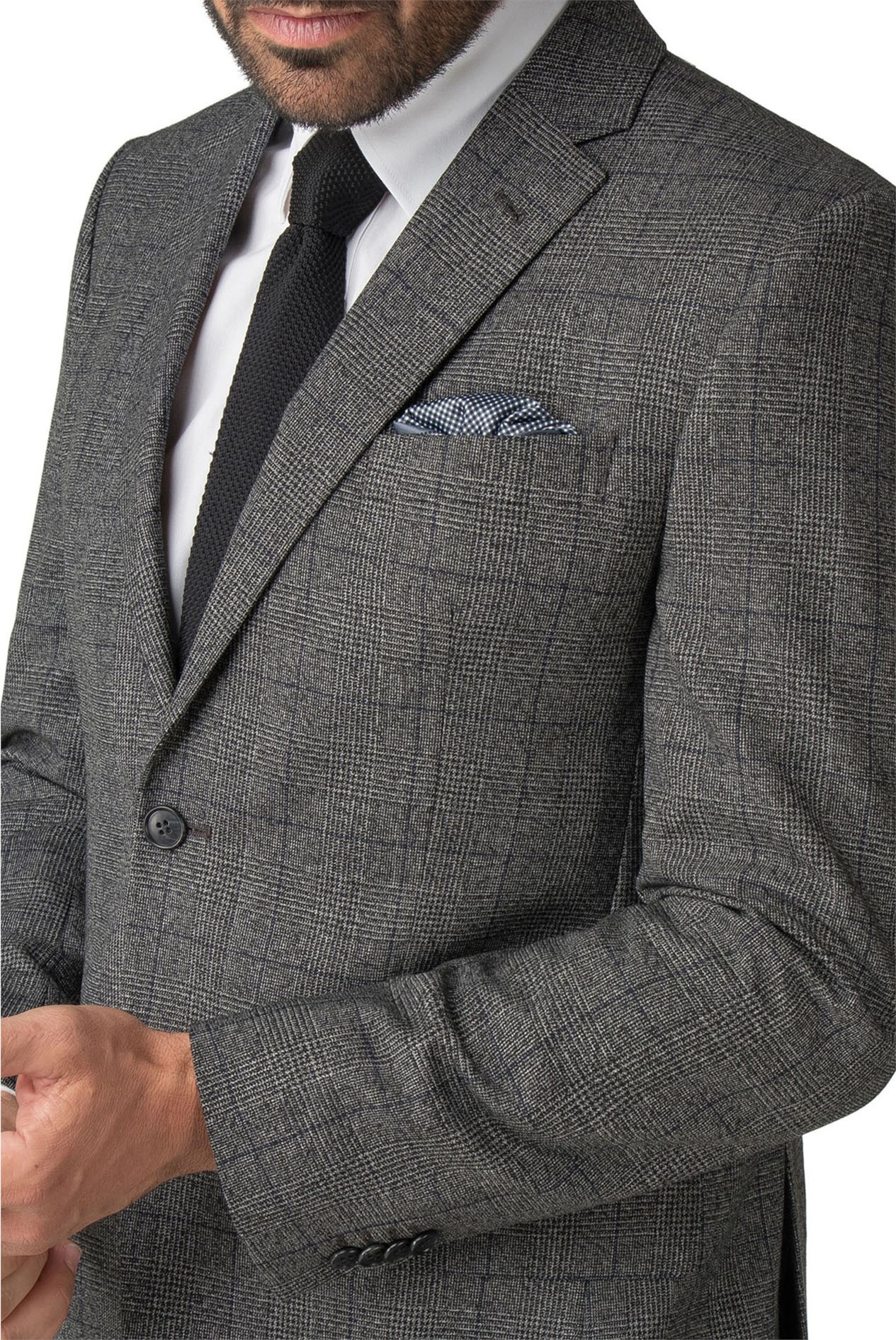 Men/'s Suit Jeff Banks Tailored Fit Charcoal Grey Wool Blend