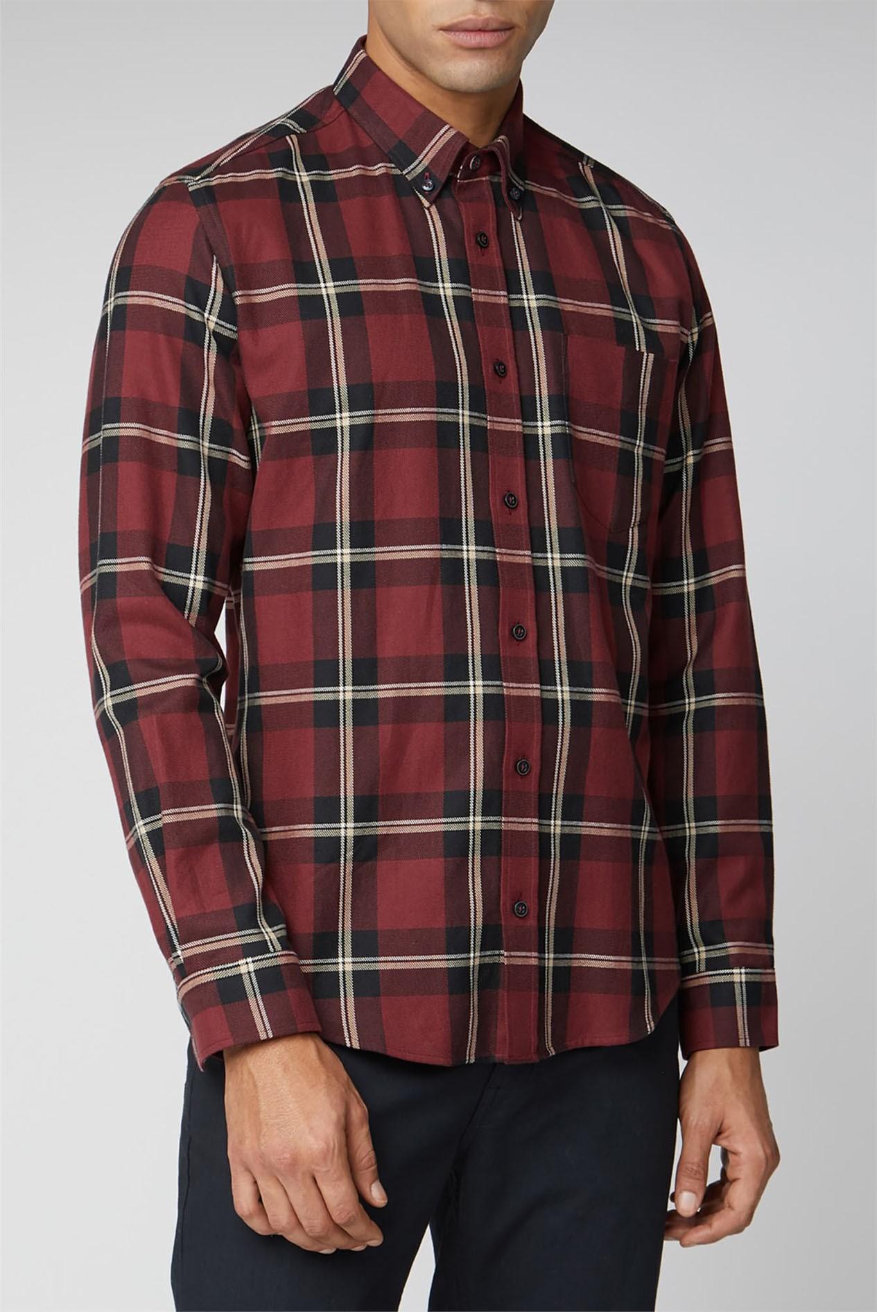 BEN SHERMAN Men Long Sleeve Tartan Check Shirt Colour S XXL Royal Blue Sizes