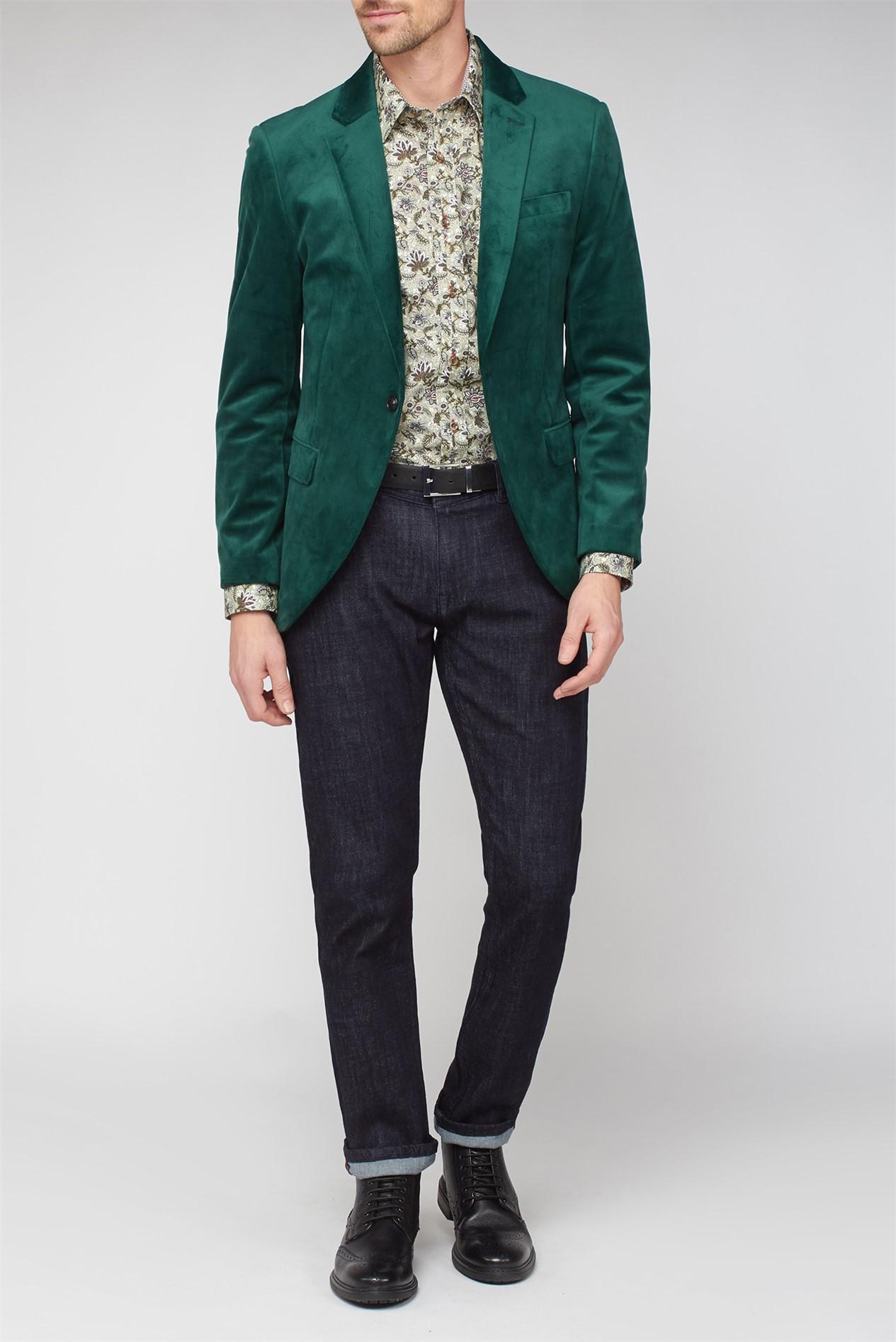 Jeff Banks Green Velvet Dresswear Jacket Mens Velvet Blazer