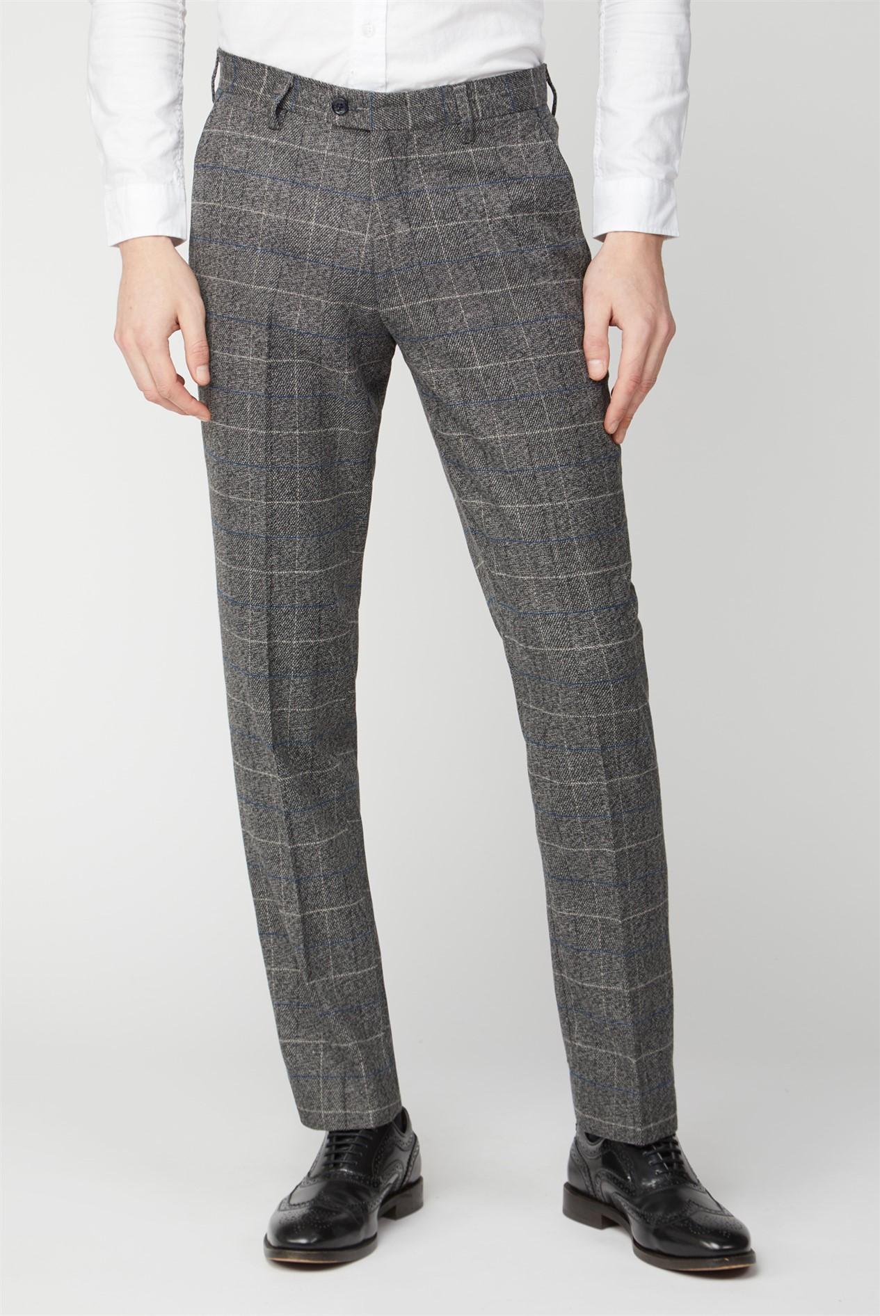 Mens Marc Darcy Tweed Grey Trousers Work Wedding Smart Casual Formal Pants