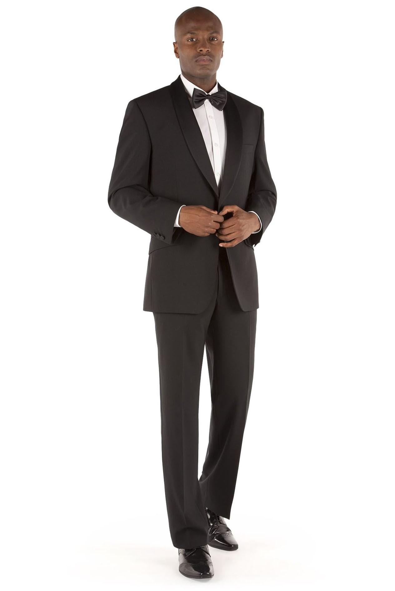 Men Tuxedo Dinner Suit Navy Black Shawl Collar Black Satin Tailored Fit Vintage
