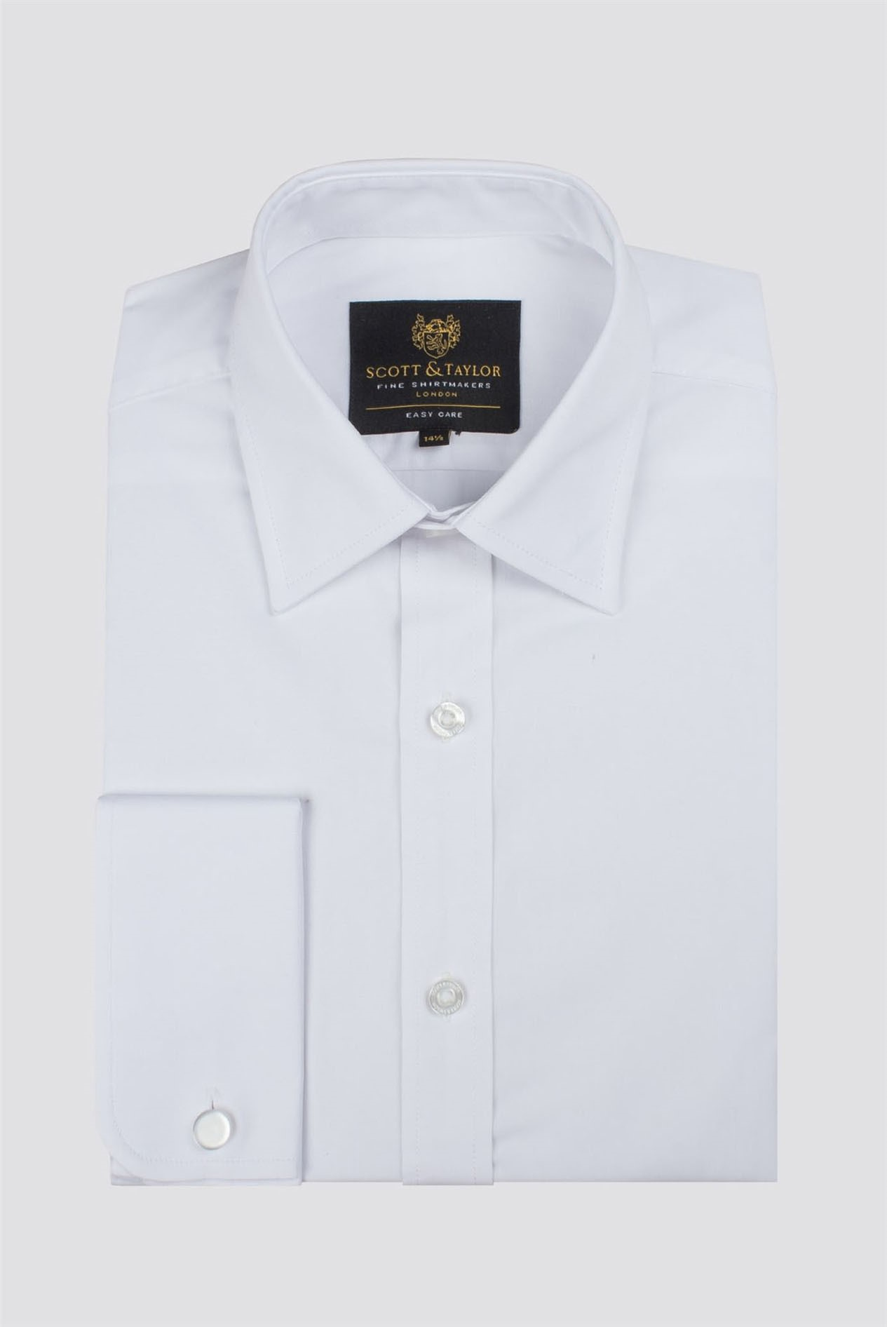 perfect for a Tie Slim Fit Standard Collar Double Cuff White Dress Shirt